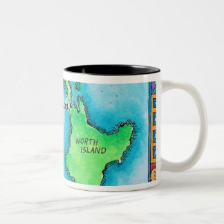 Map of New Zealand Two-Tone Coffee Mug