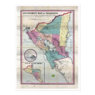 Map of Nicaragua (1856) Postcard