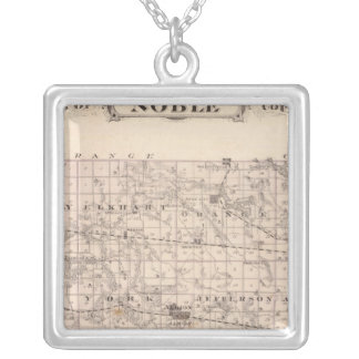 Map of Noble County Silver Plated Necklace