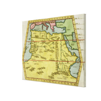 Map of North Africa, c.1580s (coloured engraving) Canvas Print