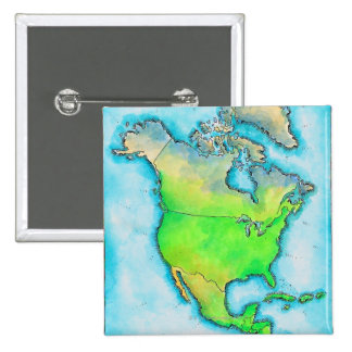 Map of North America 15 Cm Square Badge
