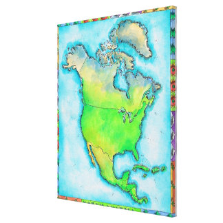 Map of North America 2 Stretched Canvas Print