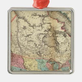 Map of North America 3 Silver-Colored Square Decoration