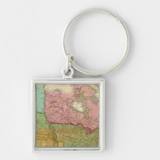 Map of North America 3 Silver-Colored Square Key Ring