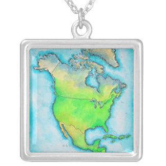 Map of North America 3 Silver Plated Necklace