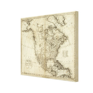 Map of North America 4 Canvas Print