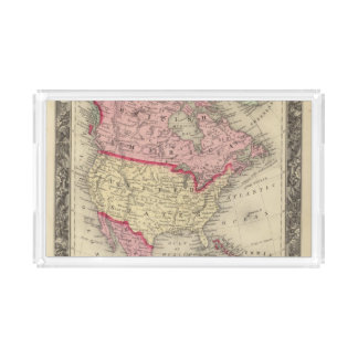 Map Of North America Acrylic Tray