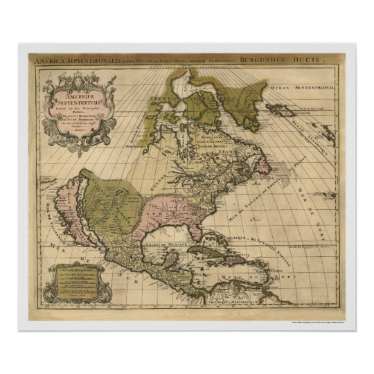 Map of North America by Alexis Hubert Jaillot