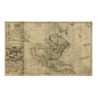 Map of North America by Herman Moll (1715) Poster