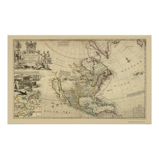 Map of North America by Herman Moll 1715 Posters