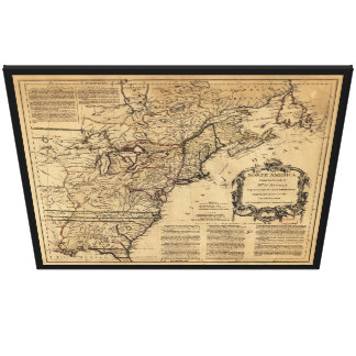 Map of North America by Jefferys & Anville (1755) Canvas Print