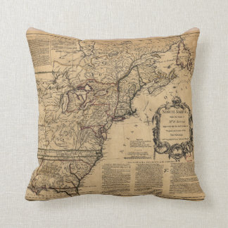 Map of North America by Jefferys & Anville (1755) Cushion
