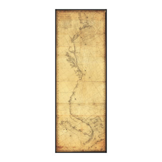 Map of North America Cape Cod to Havannah (1784) Canvas Print
