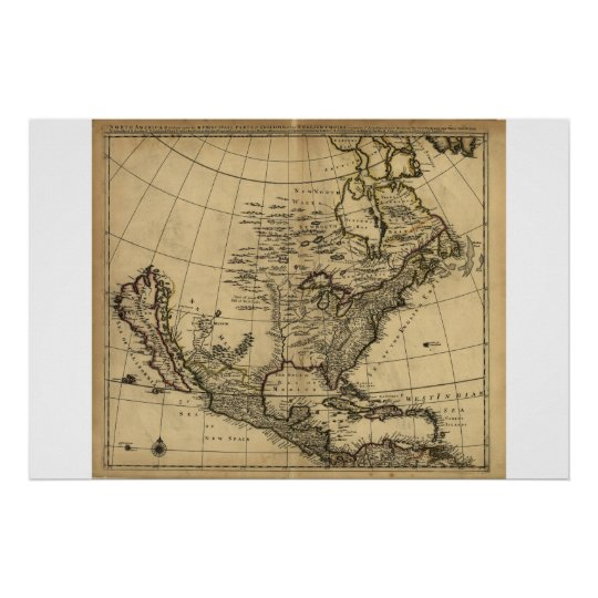 Map of North America, English, circa 1685 Poster