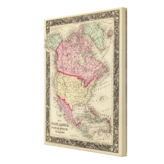 Map Of North America Gallery Wrap Canvas