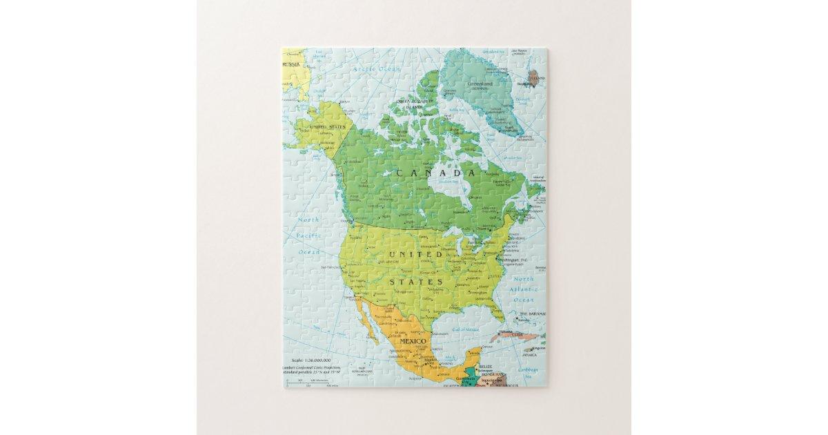 Map Of America Jigsaw.Map Of North America Jigsaw Puzzle Zazzle Co Uk