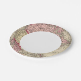 Map Of North America Paper Plate
