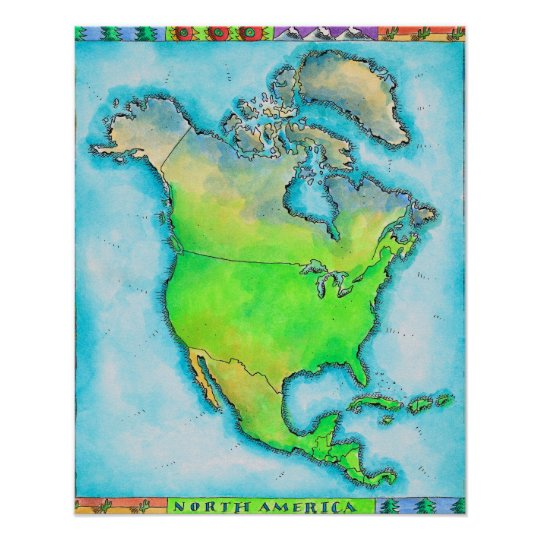 Map of North America Poster