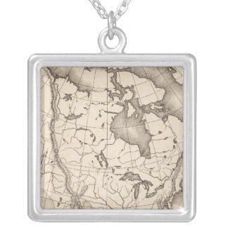 Map of North America Silver Plated Necklace