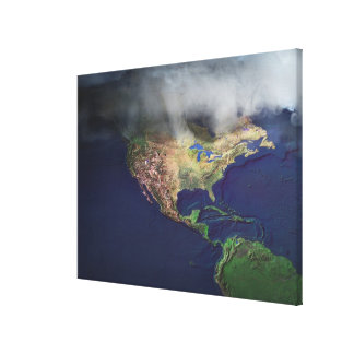 Map of North America with fog Canvas Print