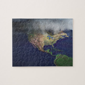 Map of North America with fog Jigsaw Puzzle