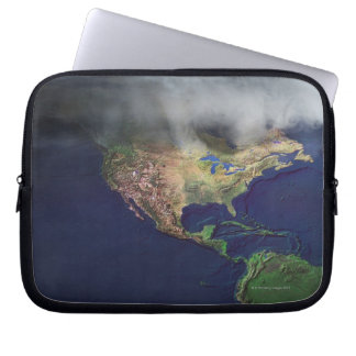 Map of North America with fog Laptop Sleeve