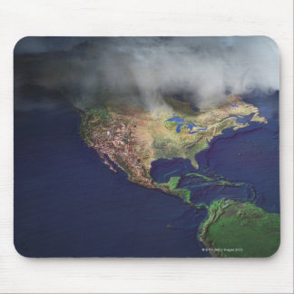 Map of North America with fog Mouse Mat