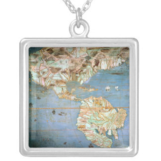 Map of North and South America Silver Plated Necklace