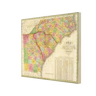 Map Of North and South Carolina And Georgia Canvas Print
