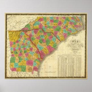Map of North and South Carolina, and Georgia Poster