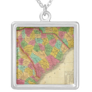 Map of North and South Carolina, and Georgia Silver Plated Necklace