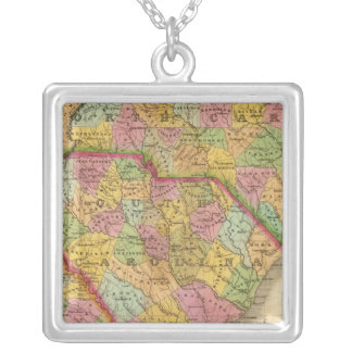 Map Of North and South Carolina And Georgia Silver Plated Necklace