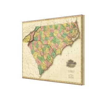 Map of North and South Carolina Canvas Print
