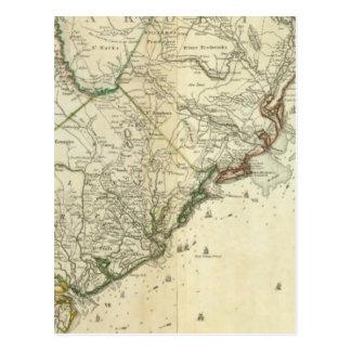Map Of North And South Carolina Postcard
