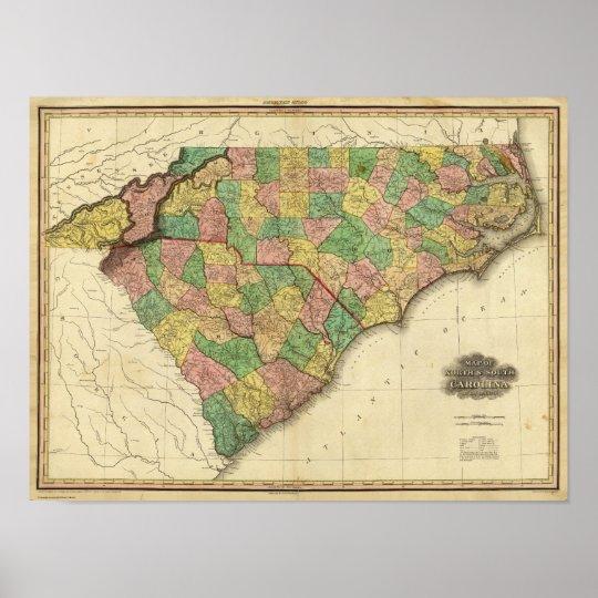 Map of North and South Carolina Poster