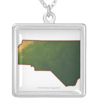 Map of North Carolina 2 Silver Plated Necklace