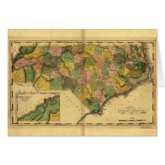 Map of North Carolina by Mathew Carey (1814) Greeting Card