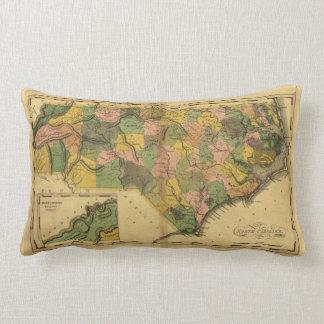 Map of North Carolina by Mathew Carey (1814) Throw Cushions
