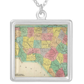 Map Of North Carolina Silver Plated Necklace