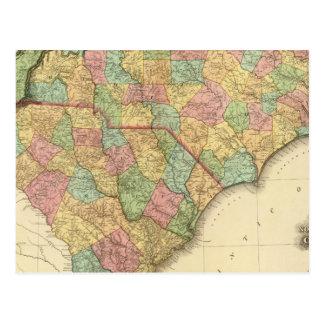 Map of North South Carolina Postcard