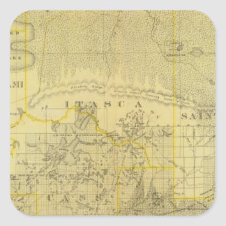 Map of Northern Minnesota, 1874 Square Sticker
