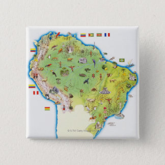 Map of Northern South America 15 Cm Square Badge