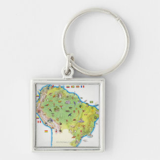 Map of Northern South America Key Ring