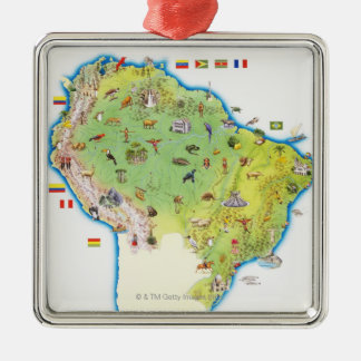 Map of Northern South America Silver-Colored Square Decoration