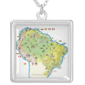 Map of Northern South America Silver Plated Necklace