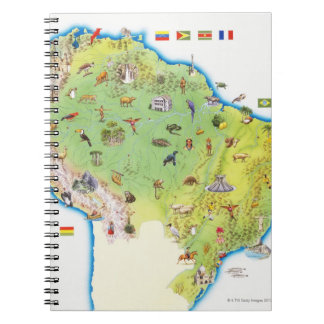 Map of Northern South America Spiral Notebook