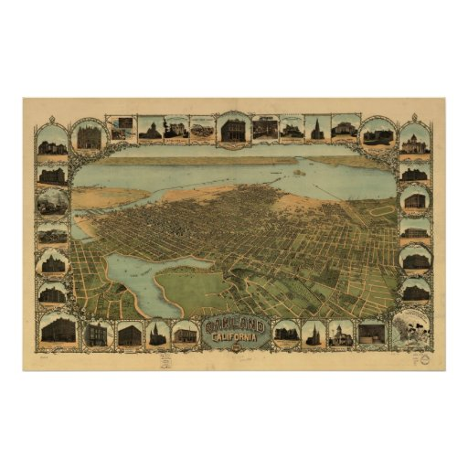 Map of Oakland, Birds-Eye View, 1900 Poster