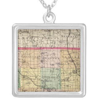 Map of Oakland County, Michigan Silver Plated Necklace
