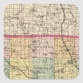 Map of Oakland County, Michigan Square Sticker