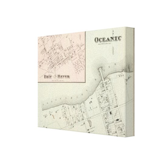 Map of Oceanic and Fair Haven, NJ Canvas
